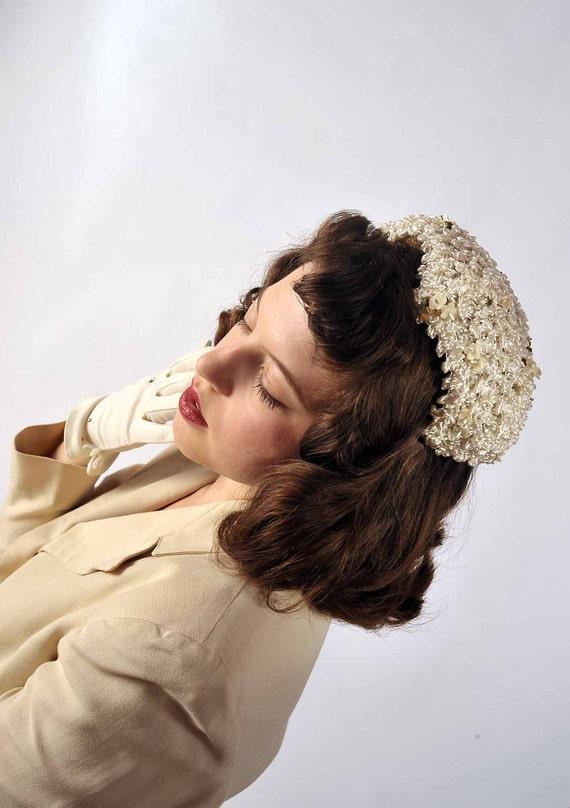 Vintage 1950s Hat // The Powdered Sugar Floral Wedding Hat