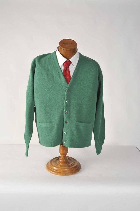 Vintage 1960s Green Golf Cardigan Sweater