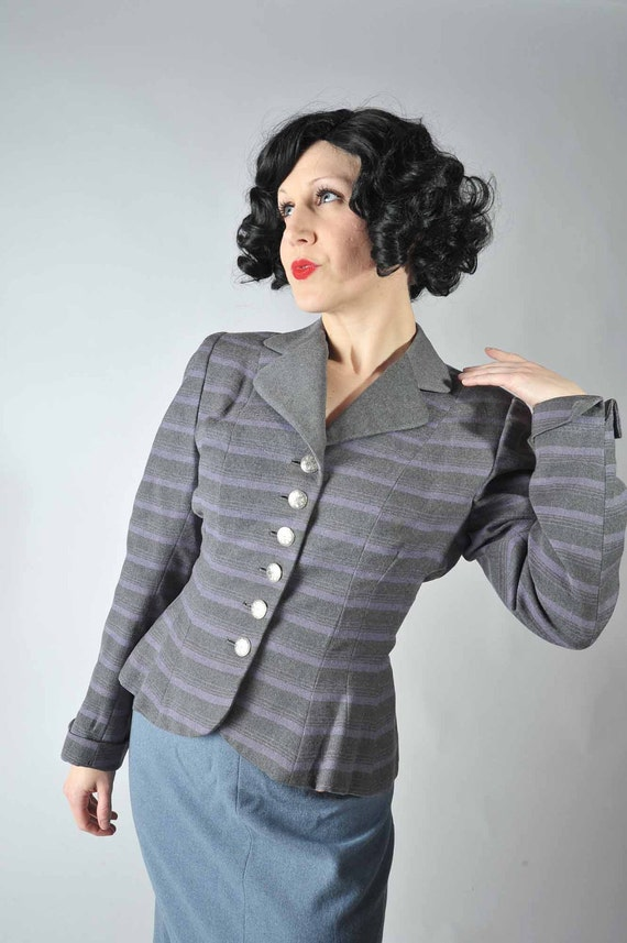 Vintage 1950s Suit Jacket -Smart Purple and Gray Striped Tailored Jacket