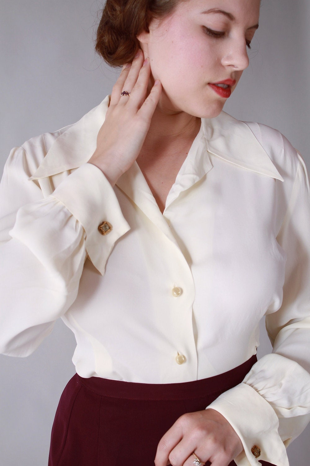 Women dress shirts with french cuff