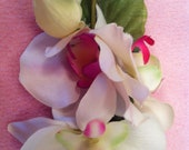 Beautiful pin-up double orchid flower barrette