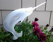 Narwhal Narwhale Metal Lawn Ornament Yard Art Garden Outdoor Patio Decor Stake Plant Spike