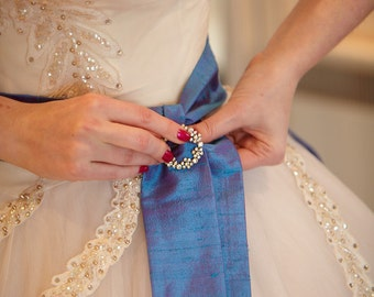 Blue Violet Iris Silk Sash Bow Belt Wedding Sash - longer length - ready to ship