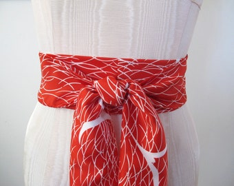 Japanese Obi Belt Red White Abstract Bird Print Tori Richard Vintage Fabric by ccdoodle - made to order