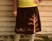 Upcycled Pixie Skirt - Recycled Tree of Life and Hippie Clothing  - women bohemian skirt - fiber art - large