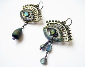 Weeping. Cosmic Iridescent Eye earrings with Lampwork and Labradorite.