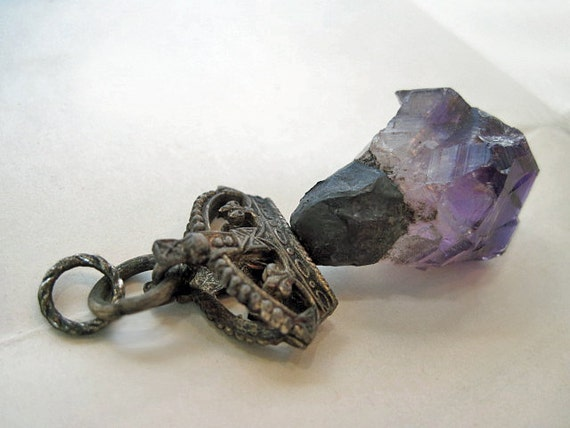 Royal. Victorian Tribal Rustic  Crown and Rough Amethyst Pendant.
