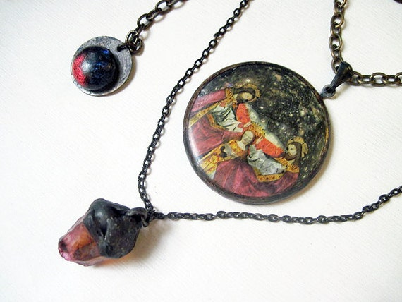 Pain So Deep. Cosmic Victorian Tribal Pendant Necklace with Citrine, Virgin Mary, Cosmic Moon.