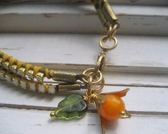 Saffron wrap leather cord bracelet, opal rhinestone chain, army green leather cord, fall fashion wrap bracelet
