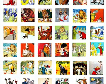 wiz of oz clip art 1 inch squares digital download COLLAGE SHEET graphics images fairy tales printable art