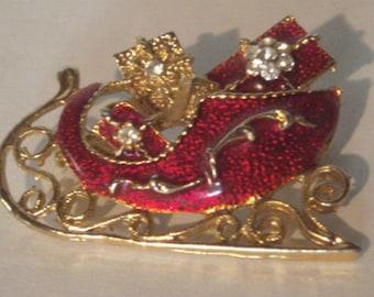 Vintage Enamel Pin - Christmas Brooch - Santas Sleigh Pin - Red Enamel Inlay on Gold Tone Metal - Christmas Pin - Holiday Fashion Accessory