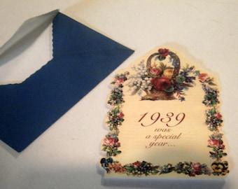 Vintage Birthday Card - 74 Years Old - 1939 Birth Year - Old Greeting Card - Sweden - Paper Ephemera - Birthday Card