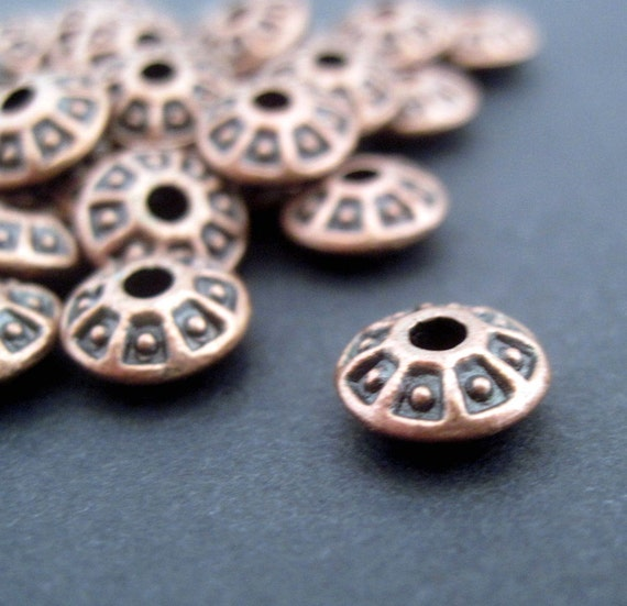 Antiqued Copper Rondelles - Greek Style Design - 8mm - 6 Beads