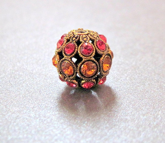 13mm - Swarovski Rhinestone Encrusted Antiqued Gold Bead - Indian Pink and Topaz - 1 Bead