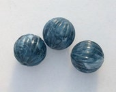 6 Vintage Denim Blue Lucite Beads Fluted Rounds