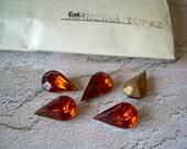 5 Vintage Pear Shape Glass Rhinestones Madeira Topaz TTC Czechoslovakia