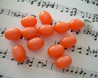 12 Orange Sorbet Vintage Moonglow Lucite Beads Oval 10x8mm