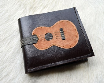 Men Wallet Ukulele Vintage Wood Color leather