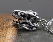 T-Rex Skull Necklace in Solid Sterling Silver Tyrannosaurus Rex Skull pendant Necklace 080