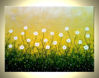 ORIGINAL Flowers Painting, Abstract White Daisies, Textured Impasto Blossoms, Contemporary Abstract Painting by Lafferty 40x30, FREE SHIP