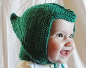 Green baby elf hat with ear flaps--READY TO SHIP