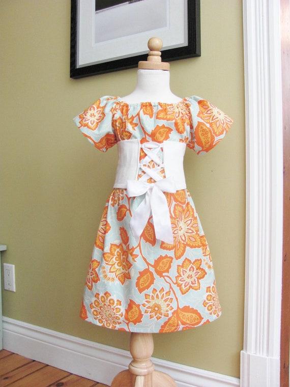 SALE - GRETA - Girls Peasant Dress with Corset Sash - Tangerine -  Ready to Ship  - Size 5/6 Girls