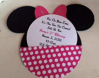 Handmade Custom Hot Pink Minnie Mouse Birthday Invitations- Set of 20
