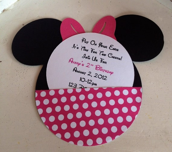 Handmade Custom Hot Pink Minnie Mouse Birthday Invitations- Set of 10