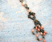 Cherub Necklace - Peach Moonstone and Jasper Drop Necklace - Antique Hardware Collection