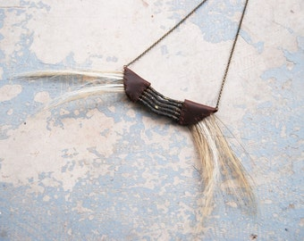 Tribal Breastplate Necklace - Horse Hair and Leather Native American Inspired Necklace - Antique Hardware Collection