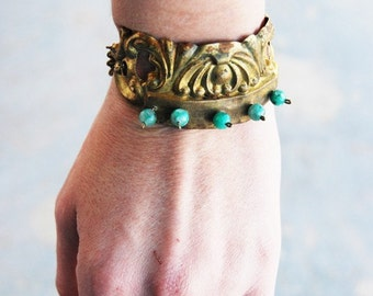 Boho Cuff Bracelet - Kiwi Jasper - Antique Hardware Collection