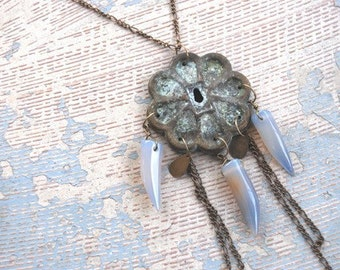 Tribal Talisman Necklace - Blue Agate Teeth and Chains - Antique Hardware Collection