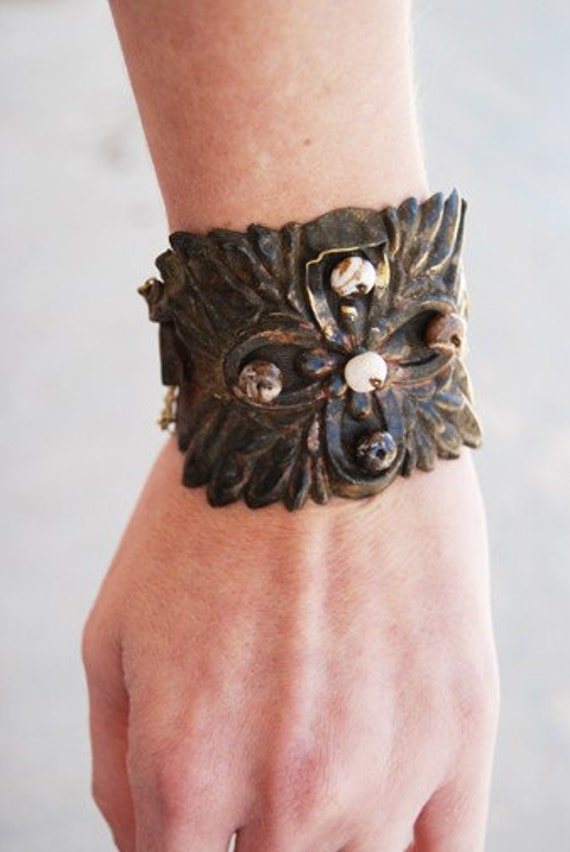 Bohemian Cuff Bracelet - Expresso Brown Agate - Antique Hardware Collection