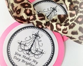 Cheetah and Pink Chandelier Handmade Party Favor Gift tags by Chocolatetulipdesign