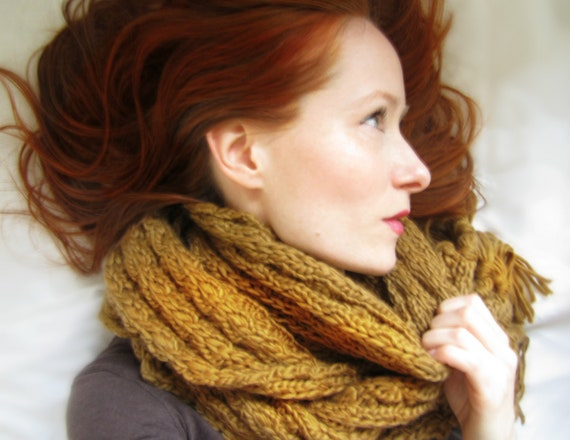 Chunky Knit Scarf in Mustard Warm Hand Knit Scarf
