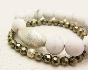 White Grey Howlite Statement Bracelet with Brushed Sterling Silver / smoke charcoal grey creamy white / rain clouds inspired / pale ether
