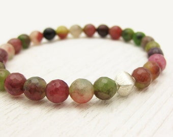 Colorful Jade Bead Bracelet with Brushed Sterling Silver Diamond / Stacking Bracelet / green pink melon watermelon fall fresh colors