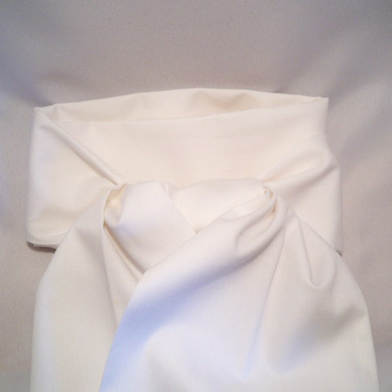 Stock Tie, Formal Attire, White, Two Fold, Cotton Twill Fabric, Unisex