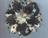 Blonde Flower Fairy with Black and White Petals with Black Polka Dots