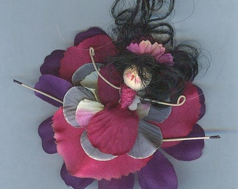 Flower Fairy with Black Hair and Pink and Purple Petals (018)