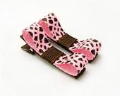 Giraffe Tuxedo Bows, Animal Print Giraffe Clips, Pink and Brown Giraffe Clippies