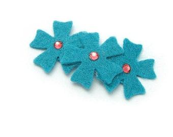 Felt Flower Barrette, Choose Colors, Peacock Blue Felt Flower Hair Clip, Dark Turquoise Flower, Baby, Toddler, Girl