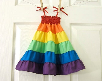"Rainbow Doll Dress for My Twinn Doll, Rainbow Dress, Made to Match the Rainbow Twirl Dress, My Twinn Doll Dress, 23"" Doll Dress"