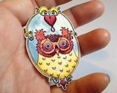 Lindsay's Bleeding Heart Screech Owl Pinback Button Brooch