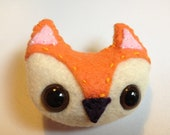 Orange Felt Fox Pinback Button Brooch