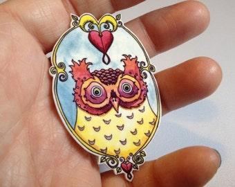 Bleeding Heart Screech Owl Pinback Button Brooch
