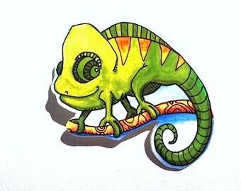 Chameleon Pinback Button Brooch