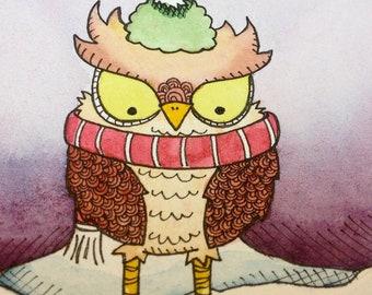 Owl Illustration - A Winter Walk