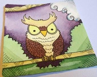 Owl Illustration - Sunset Perch