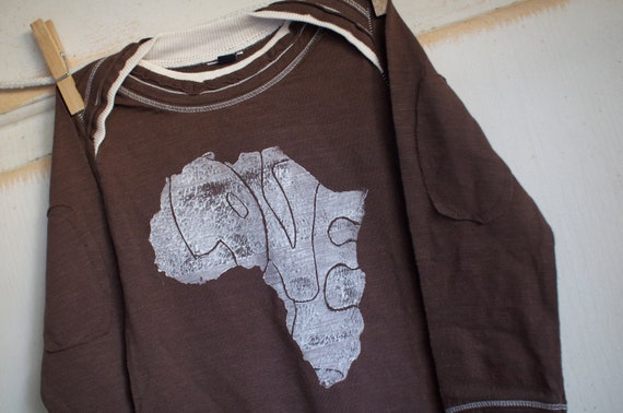 12-18 Month Brown and White Infant Organic Africa Love Onesie